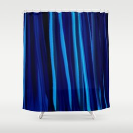 Stripes  - Ocean blues and black Shower Curtain