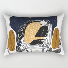 A PEACEFUL NIGHT, A Beautiful Girl With Long Hair Sleeping At Home Rectangular Pillow