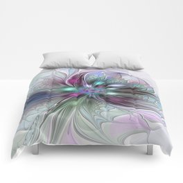 Colorful Fantasy Abstract Modern Fractal Flower Comforters