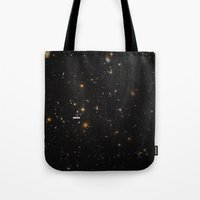 typography Tote Bags featuring THE UNIVERSE - Space | Time | Stars | Galaxies | Science | Planets | Past | Love | Design by Mike Gottschalk