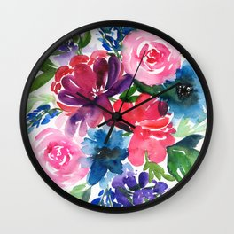 peony bouquet in cold colors Wall Clock