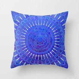 Blue Floral Mandala Throw Pillow