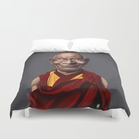 lama Duvet Covers featuring Celebrity Sunday ~ Dalai Lama by rob art | illustration