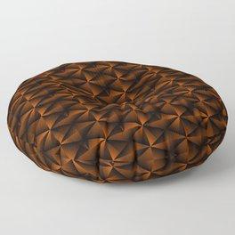 Rectangles of luminous bronze rhombuses and black pyramidal triangles. Floor Pillow