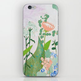 Multi Floral Painting on Pink and White Background iPhone Skin