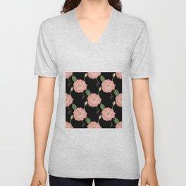 Elegant Pink & Gold Watercolor Roses Black Design Unisex V-Neck
