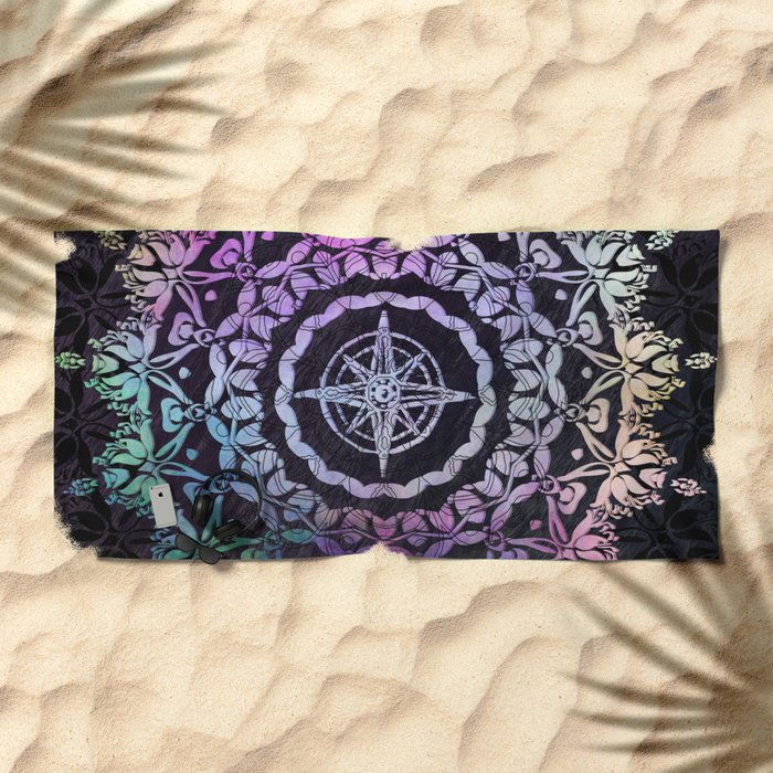 Dark Destination Mandala Beach Towel