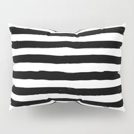 Modern black white watercolor hand painted brushstrokes stripes Pillow Sham