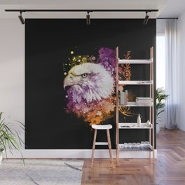 Awesome eagle with flowers Wall Mural