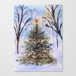 Woodland Winter Christmas Tree Watercolor Canvas Print