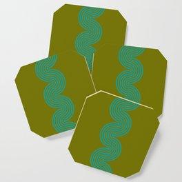 groovy minimalist pattern aqua waves on olive Coaster