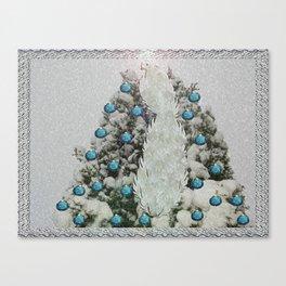 Silver Bird Snowy Tree Canvas Print