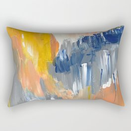 Orange and Blue Abstract 1 Rectangular Pillow