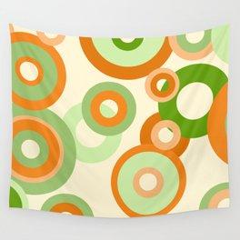 vintage rings orange green Wall Tapestry