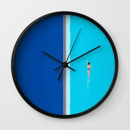 The Lone Swimmer | Aerial Wall Clock