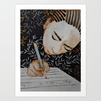 writing Art Prints featuring Writing by Kristina Marie