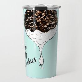 Cute Hand Drawn Foodie Cookies and Milk Travel Mug