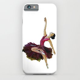 Oil painting of a ballerina dancing under the clear sky and beautiful bushy grass iPhone Case