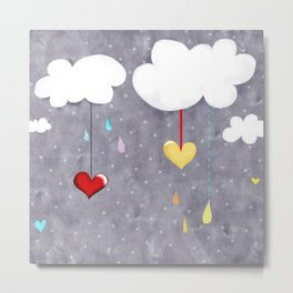 Clouds and Hearts Purple Polka Dots Metal Print