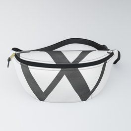 Letter W Initial Monogram Black and White Fanny Pack