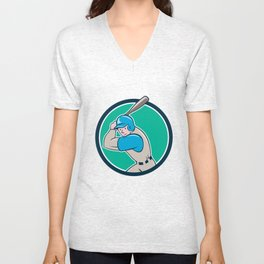 Baseball Player Batting Circle Cartoon Unisex V-Neck