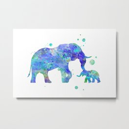 Blue Mom and Baby Elephant Watercolor Painting Metal Print