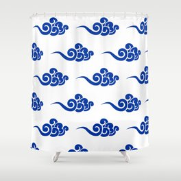 Chinese Wind Symbols in Porcelain Blue and White Shower Curtain