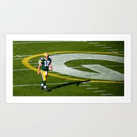 nfl Art Prints featuring NFL MVP Aaron Rodgers by David Konieczko