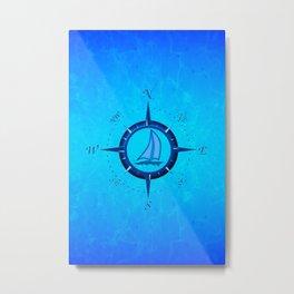 Sailboat And Compass Rose Metal Print