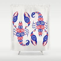 patriotic Shower Curtains featuring Patriotic Scorpion by Cat Coquillette
