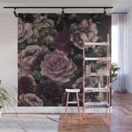 Roses In Burgundy And Pink Vintage Botanical Garden Flowers Wall Mural