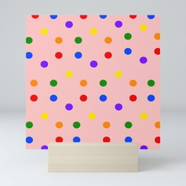 Playful Dots in Primary and Secondary Colors on light pink background Mini Art Print