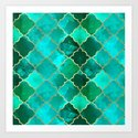 Green Quartz & Gold Moroccan Tile Pattern by tanyalegere