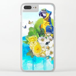 FLORAL PARROT Clear iPhone Case