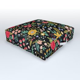 Amazing floral pattern with bright colorful flowers, plants, branches and berries on a black backgro Outdoor Floor Cushion