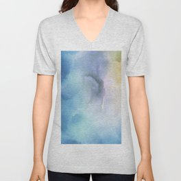 Navy blue teal lavender yellow watercolor brushstrokes Unisex V-Neck