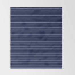 Navy Blue Pinstripes Lines Minimal Throw Blanket