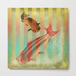 2 Fish on Stripes Metal Print