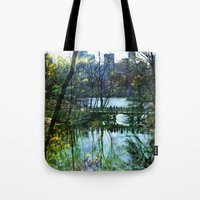 central park Tote Bags featuring Central Park  by aLovelyNotion