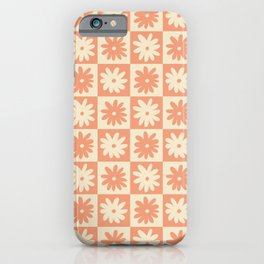 Peach And Off White Checkered Floral Pattern iPhone Case