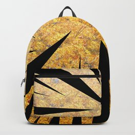 Abstract shapes in black color with yellow floral background Backpack