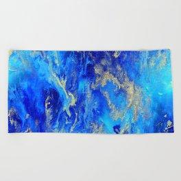 Blue & Gold Abstract d171011 Beach Towel