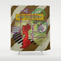 jeep Shower Curtains featuring Compensatorial by Charles Emlen