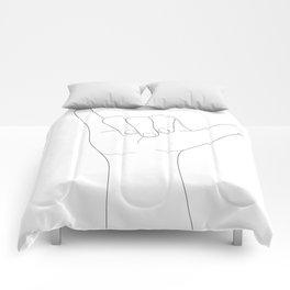 Minimal Line Art Shaka Hand Gesture Comforters