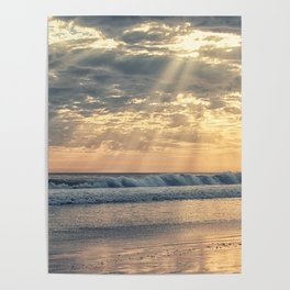 Rays From Above sun rays on Cayucos Beach Poster
