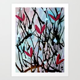 Blown Ink Painting Collage Art Print