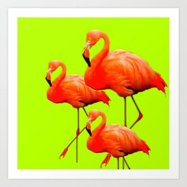 Decorative Tropical Flamingos Chartreuse Color Art. Art Print