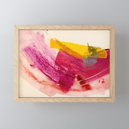 Pink Lemonade: a minimal, colorful abstract mixed media with bold strokes of pinks, and yellow Framed Mini Art Print