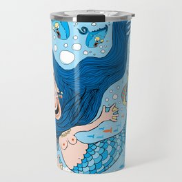 Quirky Mermaid with Sea Friends, Blue version Travel Mug