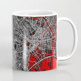 Tokyo City Map of Japan - Oriental Red Coffee Mug